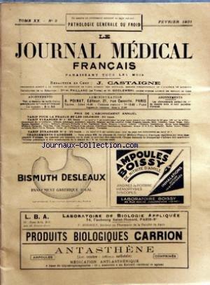 JOURNAL MEDICAL FRANCAIS (LE) [No 2] du 01/02/1931