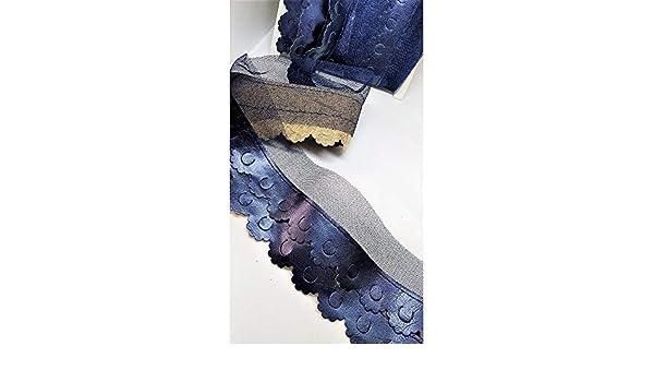 TOMASELLI MERCERIA 50 cm Passamaneria Frangia in Eco Pelle smerlata Traforata Cucita su Tulle Alta 5 cm Blu