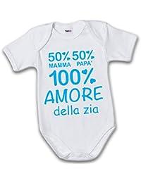1ff1bfa8ba Babloo Bodino Body Neonato 50 Percento Mamma 50 Percento Papa' 100 Percento Amore  della Zia