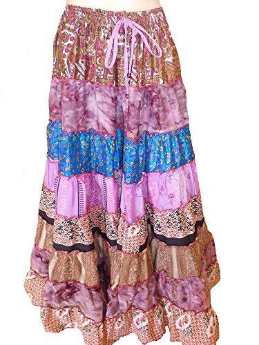 9 Yard Tribal Gypsy Maxi Tiered Rock Bauchtanz Röcke Silk Blend Banjara Passend für S M L 840