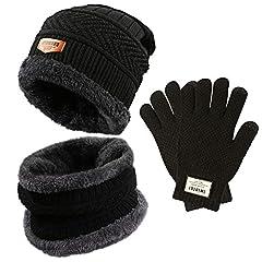 Idea Regalo - Gifort caldo cappello lavorato a maglia e guanti touch screen, Unisex 3 pezzi cappello e sciarpa Set per uomo donna Fitness Outdoor Sport Jogging Sci escursionismo