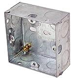 25mm Single Metal Flush Mounted Back Box - 1 Gang Brick Wall Hole Pattress - Loops