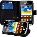 kwmobile Wallet Case Hülle für Samsung Galaxy Mini 2 - Cover Flip Tasche mit Kartenfach und Ständerfunktion in Schwarz