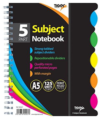 Quaderno formato A5, per5 materie/argomenti, con rilegatura a doppia spirale