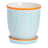 Nicola Spring Blumentopf mit Untersetzer - Porzellan - blaues/orangefarbenes Muster - 20 cm