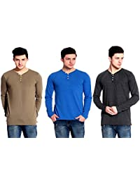 Lemon And Vodka Men's Henley Mens Solid Tshirt-CMB2 Pack Of 3 (LNV-L.SLV-HNLY-3PCK-CMB-2_Multicolor)