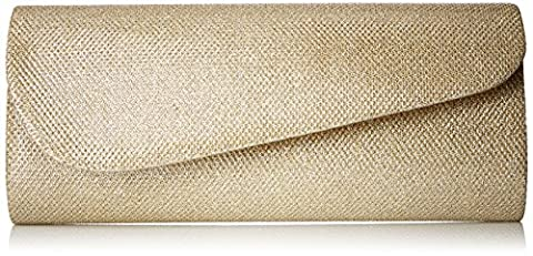 Damara Womens Oblique Flap Glitter Clutch Handbags (Gold)