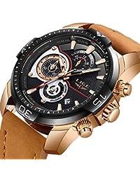 5ee3cc631647 LIGE Relojes Hombre Militar Deportes Impermeable Analógico Cuarzo Relojes  Hombre Ocio Cronógrafo Marron Cuero ...
