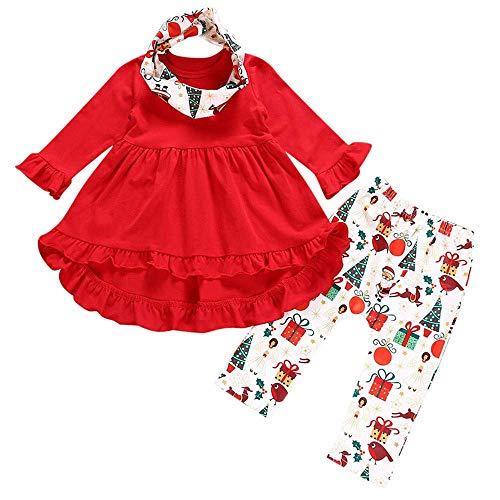 Yter Boy Kleidungs-Set für Babys, Mädchen, mit Rüschen, Weihnachtsmuster, warmes Schal, Outfit für Mädchen, rot, 3-4T