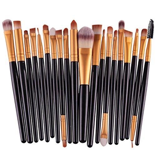 20 pcs Makeup Brush Set Femme Longra Brosse à cils en bois Brosse anti-cernes Pinceau Eyeliner Femme Brosse de maquillage professionnelle sertie de poils synthétiques super doux Mode (Noir)