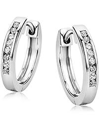 b88e04977187 Orovi Pendientes Señora aros en Oro Blanco con Diamantes Talla Brillante  0.11 ct Oro 9 Kt