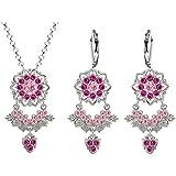 Lucia Costin Silver, Light Pink, Fuchsia Crystal Jewelry Set, Impressive