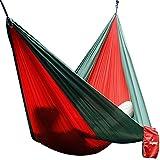 Hamaca de viaje/camping Unigear en tela Nylon de Paracaídas - Alta resistencia, compacto y ultra ligero (Rojo / Verde Oscuro, Single)