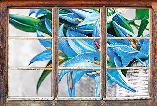 (Stil.Zeit schöne Blaue Blumen im Körbchen B&W Detail Fenster im 3D-Look, Wand- oder Türaufkleber Format: 62x42cm, Wandsticker, Wandtattoo, Wanddekoration)
