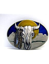 Western Buckle m. Buffalo Skull & plumes indiennes, TOP