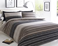 Pieridae Textured Stripe Brown Duvet Cover & Pillowcase Set Bedding Quilt Case Single Double King Superking