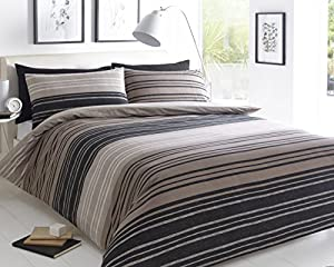 Pieridae Textured Stripe Brown Duvet Cover & Pillowcase Set Bedding Quilt Case Single Double King Superking