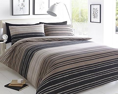 Pieridae Textured Stripe Brown Duvet Cover & Pillowcase Set Bedding Quilt Case Single Double King Super King