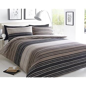Pieridae Textured Stripe Brown Duvet Cover & Pillowcase Set ... : brown quilt cover - Adamdwight.com