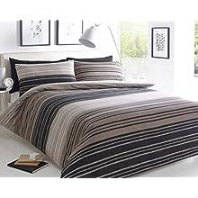 Sleepdown Brown Textured Stripe Super King Duvet Cover Set. Easy Care And Super Soft Cotton Design. Trendy Striped Pattern Quilt. Super King 220x260 cm + 2 Matching Pillowcase.