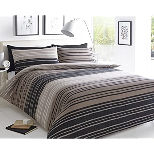 Pieridae Textured Stripe Brown Duvet Cover U0026 Pillowcase Set Bedding Quilt  Case Single Double King Superking (Double)