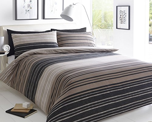 Pieridae Textured Stripe Brown Duvet Cover & Pillowcase Set Bedding Quilt Case Single Double King Super King (Double)