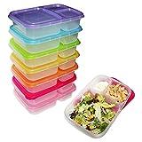 7 teiliges Set Bento Lunchboxen - Bento Box - Brotdose mit 3 Fächern und Deckel Auslaufsichere Mahlzeit Brotbüchse - BPA FREI für Kinder und Erwachsene - Stapelbar, Wiederverwendbar - Mikrowellengeeignet - Spülmaschinenfest und geeignet für die Gefriertruhe Praktisch für unterwegs