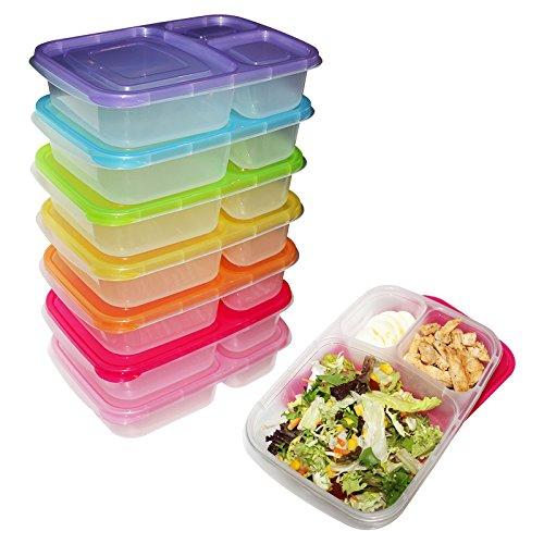 Lot de 7 Boîtes à Repas Bento Lunch Box - Récipients à 3 Compartiments - Boîte Plastique Alimentaire avec Portions et Couvercle - Empilables, Réutilisables, Peut être Placées au Micro-Ondes, Freezer et Lave-Vaisselle - Boîtes pour Emporter Tous Vos Repas