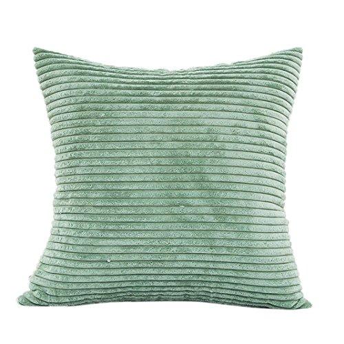 Yonlanclot Monochrome Streifen Samt Kissenbezüge Plüsch Kissen Sofa Taille Überwurf Kissenbezug Home Decor Kissenbezug Fall, grün, One Size -