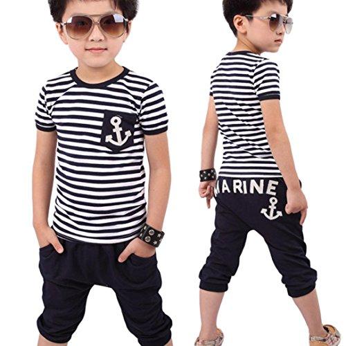Sonnena Baby Junge Kurzarm Gestreift Anker Druck T-Shirt Tops Blusen+ Hosen Outfit Set Junge Baumwolle Bekleidungssets Sommerkleidung Set Kindermode Activewear (4-5Y, Blau) (Mädchen Superman Outfit)