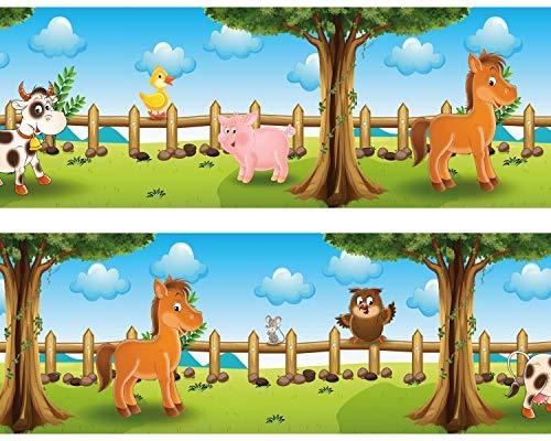 Kleisterbordüre Tiere auf dem Bauernhof, 4-teilig 520x15cm, Tapetenbordüre, Wandbordüre, Borte, Wanddeko,Kinder, Bauernhof