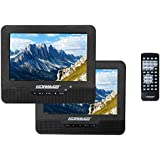 "Koramzi Portable 7"" Dual Screen DVD Player with Rechargeable Battery / AV in / USB SD Card Reader / Remote Control / Car Adapter / IR Transmitter Ready / USB / Headrest Mounting Kit (Black)-PDVD-DS7"
