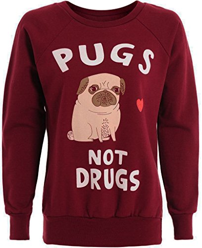 "Felpa da donna ""Pugs not Drugs"", taglie S/M–M/L 01WINE"