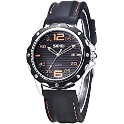 INWET Men's Quartz Watch Black Dial Analogue Display,Date Calendar, Soft Silicone Band
