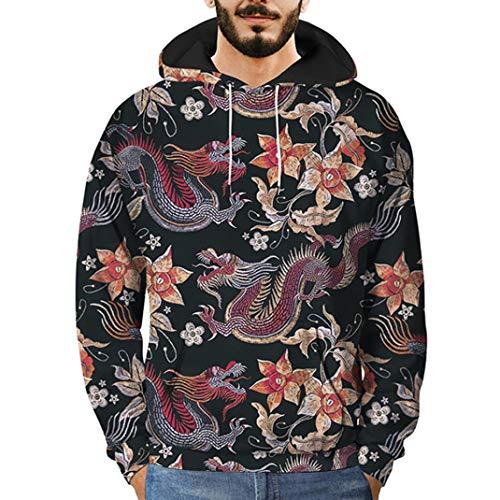 Quaan Männer 3D Gedruckt Drachen zur Seite Fahren Lange Ärmel mit Kapuze Sweatshirt Oberteile Bluse Hemd Sweatshirts Trainingsanzug Persönlichkeit Stricken Jacke Warm Weste Mantel