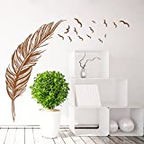 Syga 'Beautiful Brown Feather' Wall Sticker (PVC Vinyl, 50 cm x 5 cm x 5 cm)