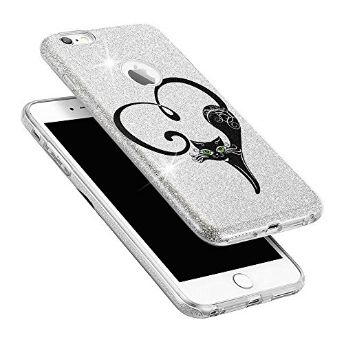 EGO ® Hülle Glitzer Schutzhülle für Huawei P9 Lite, Silber Katze Back Case Bumper Glänzend Transparente TPU Bling Weiche Glamour Handy Cover Silber Katze