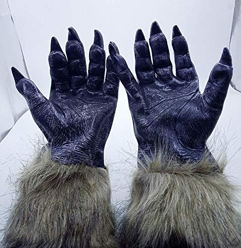 (JIE Halloween Cos Maskerade Leistung Tier Styling Silikon Lion Tiger Wolf Handschuhe Wolf Kopf Maske Kopfbedeckungen,7,1)