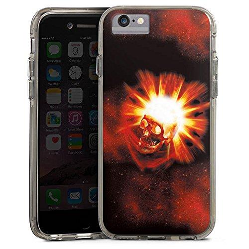 Apple iPhone X Bumper Hülle Bumper Case Glitzer Hülle Totenkopf Skull Schädel Bumper Case transparent grau