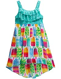 Youngland Girls Crochet Popsicle High-Low Dress, Teal (4T)