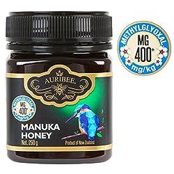 Auribee aktiver Manuka Honig aus Neuseeland - zertifiziert MGO 400+ - Premium Qualität - antibakteriell (250 Gramm)