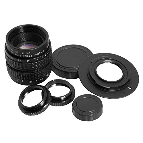 35mm F1.7 TV Objektiv für M4/3 Kameras + C-M4/3 C Halterungsadaper + 2 Makro Ringe LF12 C-mount-kamera