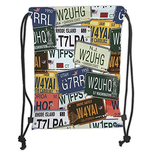 Fashion Printed Drawstring Backpacks Bags,Vintage Decor,Original Retro License Plates Creative Travel Collections Art Decorative,Green Blue Yellow Soft Satin,5 Liter Capacity,Adjustable String Clo Blue Floral Lunch Plate