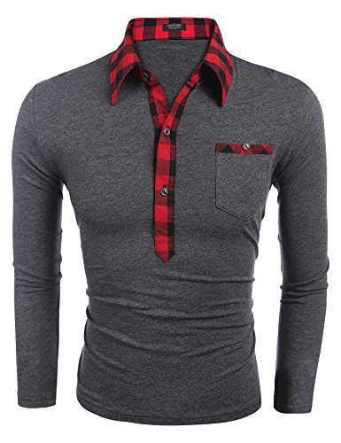 Burlady Poloshirt Tshirt Herren Polohemd Langarmshirt Sweatshirt Sport  Langarm Shirts Freizeit Polokragen Männer Viele Stile A