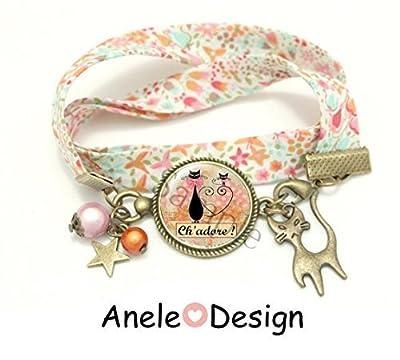 Bracelet liberty rose chat noir Ch'adore !