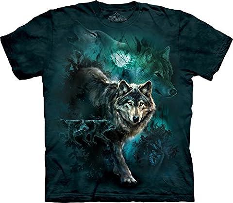The Mountain Unisex Kinder Gr. L Collage Woelfe in der Nacht T Shirt