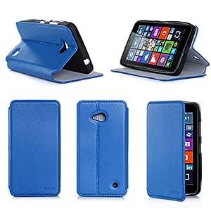 Etui luxe Microsoft Lumia 640 4G/LTE (ex Nokia) Dual Sim bleu Ultra Slim Cuir Style avec stand - Housse Folio Flip Cover coque de protection Microsoft 640 bleue 5 pouces - Accessoire XEPTIO case