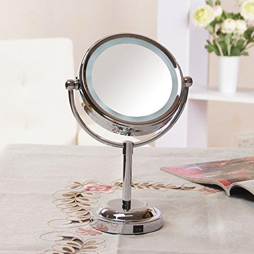 Omped Led Make-Up Spiegel, Schreibtisch mit Lampe, Spiegel, Doppelseitig Lupe Schönheit Spieglein, Spieglein LED-Spiegel Kommode, 8 Zoll Silber, 5-fache Vergrößerung, 6 Zoll, Batterie (Spotlight-schreibtisch-lampe)
