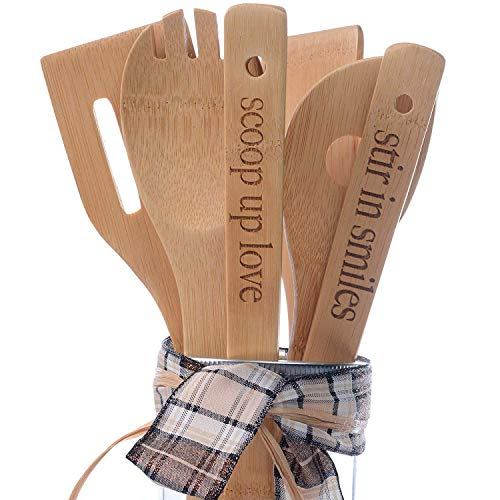 Juego de utensilios de cocina de bambú, 6 piezas, utensilios de cocina de bambú con asas grabadas...