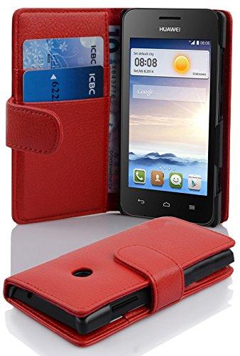 Cadorabo Hülle für Huawei Ascend Y330 Hülle in Inferno Rot Handyhülle mit Kartenfach aus Struktriertem Kunstleder Case Cover Schutzhülle Etui Tasche Book Klapp Style Inferno-Rot